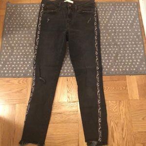 Snakeskin trim jeans